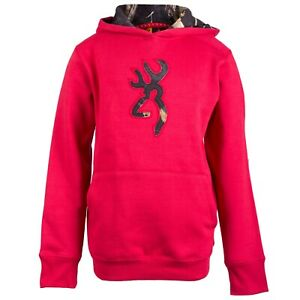 Browning Buckmark Youth LARGE Chili Pepper Red Hoodie Realtree APC Black Camo