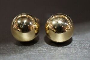 10K Yellow Gold 12MM Big Polished Ball Stud Earrings.