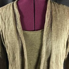 Eileen Fisher Olive Green Linen Blend Open Cardigan Tank Top Twin Set Size PP