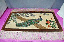 "Asian Silk Peacock Rug 20"" X 35"" with Fringe S5363"