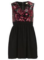 Womens Ladies New Celebrity Style Black Sequin Rose Pleated Skater Dress UK8-18