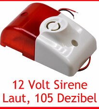 SIREN WITH ALARM LIGHT 105 DECIBEL 12V 12 VOLT UV RESISTANT SIMPLE INSTALLATION