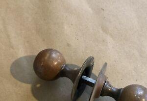 PAIR ANTIQUE CIRCULAR BRASS DOOR HANDLES KNOBS c1920s