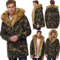 Herren Fell Jacke Camouflage Parka Gefüttert Winter Kapuze Warm Army Neu Militär