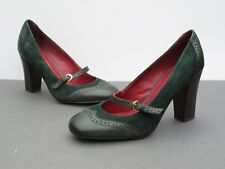 Tommy Hilfiger Green Leather and Suede High Heel Shoes / Buckle Strap UK8 EU41