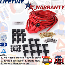 Red 8mm Spark Plug Wire Set For Wire Core Suppression V8 4041K 90 Degree Boots