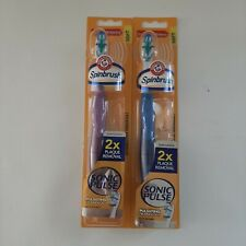 2 - Arm & Hammer Spinbrush Sonic Pulse Powered Soft Toothbrush 2x Plaque Removal