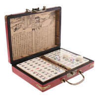 Chinese Antique Mahjong Board Game Mini Travel Size in Vintage Jewelry Case