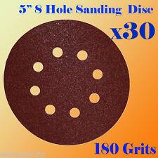 "5"" 8 Hole 180 Grit Sand Disc Paper Random Orbit Sandpaper Sheet Sander Hook Loop"