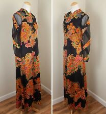 Vintage 1970s Don Luis de Espana Mod Maxi Dress Long Sleeve Black Orange S/M
