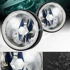 """3.5"""" ROUND CHROME HOUSING CLEAR LENS FOG DRIVING LIGHTS LAMPS+SWITCH UNIVERSAL"""