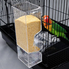 No Mess Bird Feeder Parrot Budgerigar Canary Cage Seed Food Dispenser w/ Perch