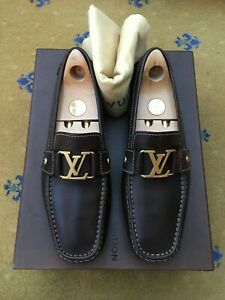 LOUIS VUITTON MENS BROWN LEATHER MONTE CARLO LOAFERS SHOES UK 8.5 US 9.5 EU 42.5