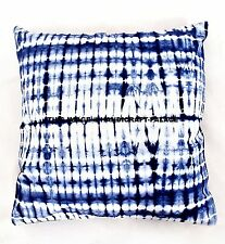 "Indigo Tie Dye Cushion Cover Ethnic Indian Pillow Cases 26x26"" Boho Shams Throw"