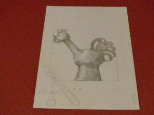 MARIO FRASCAROLI - OBJET DECORATIF / COQ / DESSIN ORIGINAL CRAYON 1985 (28)