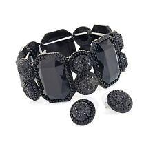 Black Tone Elasticated Bracelet and Earring Set Ladies Fashion Jewellery Gift