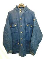 Orvis XL Mens Blue Jean Denim Jacket Mesh Lined 4 Front Pockets Zip Button Front