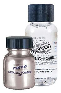 MEHRON SILVER METALLIC POWDER LIQUID POWDER FACE BODY PAINT MAKEUP COSTUME DD129