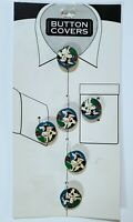 Vtg Partners/Mervyns Metal & Enamel Holstein Cow Button Covers, Set Of 6 NEW