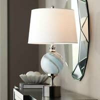 Modern Table Lamp Metal Striated Glass Off White Shade for Living Room Bedroom