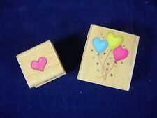 Heart Balloons and Heart Wood Mounted Rubber Stamps by Hero Arts Lot of 2