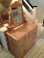 ANTIQUE knotty mellow PINE DRESSING TABLE & mirror Has original key/ locks