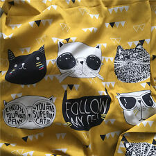 75x150cm Yellow Cotton Linen Fabric 6 Cat Face DIY Craft Material 17419  B