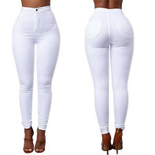 Damen High Waist Freizeit Skinny Jeans Stretch Hose Röhre Slim Leggins Hot Pants