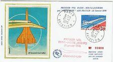 FDC-SUPERSONIQUE-CONCORDE-AIR FRANCE-1er VOL-PARIS-RIO DE JANEIRO-21/01/1976