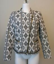 H&M Womens Black Cream Gold Sparkle Zip Front Lined Jacket Size 10