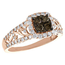 10K Rose Gold Brown Diamond Square Halo Filigree Right Hand Cocktail Ring 1 Ct.