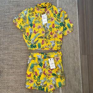 **NEW WITH TAGS** Zara Matching SET - Silk Shirt & Shorts - Both Size M