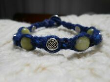 Celtic Irish Navy Blue Donegal Aran Tweed & Connemara Marble Bracelet