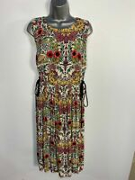 WOMENS TOPSHOP UK 14 MULTICOLOURED FLORAL PRINT LACE UP SIDES MIDI FLARE DRESS
