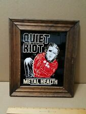 """Quiet Riot Vintage Carnival Fair Glass Mirror with Wood Frame 11.5""""×13"""" Prize"""