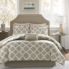 Beautiful Modern Chic Reversible Taupe Beige Comforter Bed In Bag Set & Sheets