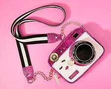 Betsey Johnson KITSCH CLOSE UP Camera Crossbody BJ66215H FUCHSIA Croc Textured