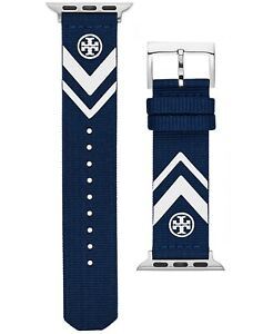 NWT TORY BURCH Leather Black Navy Red Gold Logo APPLE WATCH 1 2 3 4 5 6 SE Band