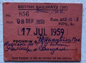 British Railway Ticket Fochriw to Pengam Pupil Sepember 1958 to July 1959.