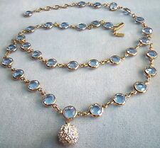 layered VINTAGE SWAN LOGO BLUE BEZEL SET SWAROVSKI CRYSTAL BALL PENDANT NECKLACE