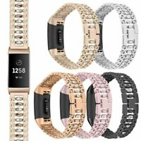 Rhinestone Stainless Steel Watch Band Wrist Strap Bracelet For Fitbit Charge 3