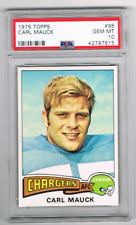 1975 Topps #96 Carl Mauck *Psa 10* *San Diego Chargers* Southern Illinois Saluki