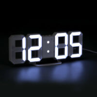 LED Digit 3D Display Alarm Wall Clock Brightness Dimmer Snooze Timer USB Charger