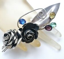 Huge Sterling Silver Rose Brooch with Rhinestones Signed Coro Vintage Pin 925