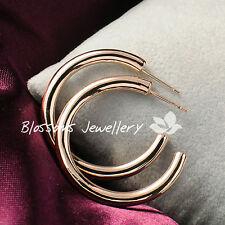 SOLID 9K 9CT Rose GOLD FILLED Jewellery 3CM Medium ROUND HOOP EARRINGS L334