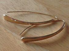 Gold Tone Threader Dangle Drop Pierced Long Hook Metal Earrings Fashion Jewelry