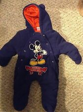 Disney Mickey Mouse Infant 0-3 Months Bunting Snowsuit EUC