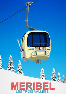Meribel Les Trois Vallees Vintage Travel Ski Resort Poster
