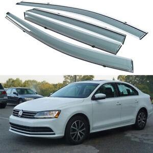 4pcs Smoke Window Visor Sun Rain Guard Deflector For Volkswagen Jetta 2011-2018
