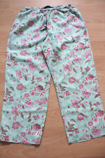 BODEN  green floral Linen Crop  trousers size 10R  NEW  stretch waist /drawstrin